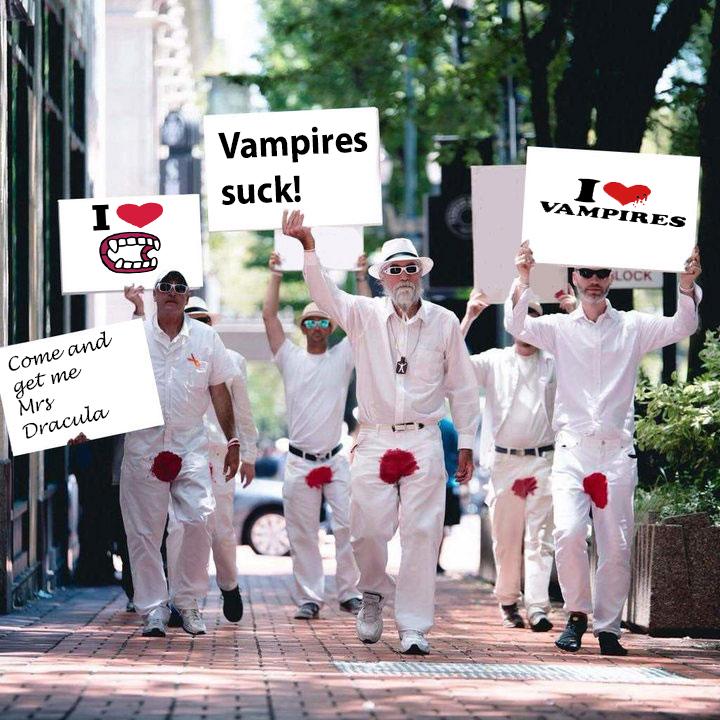 Vampires like bees round a honey pot
