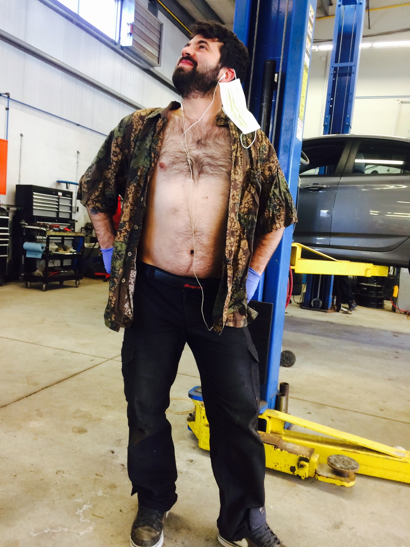 Sometimes, the fumes at work make the mechanics get a little strange