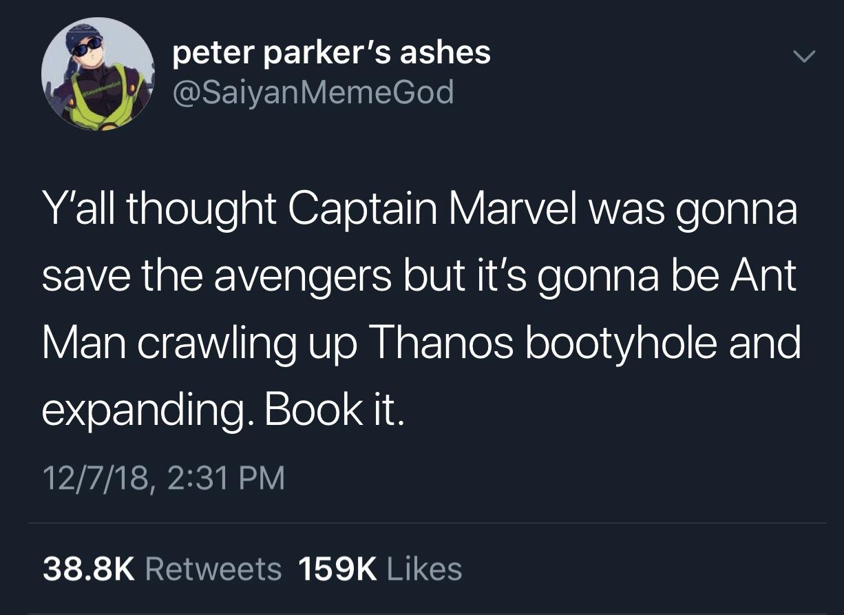 Captain Marvel and Ant Man crawling up Thanos butt hole Endgame meme twitter pic