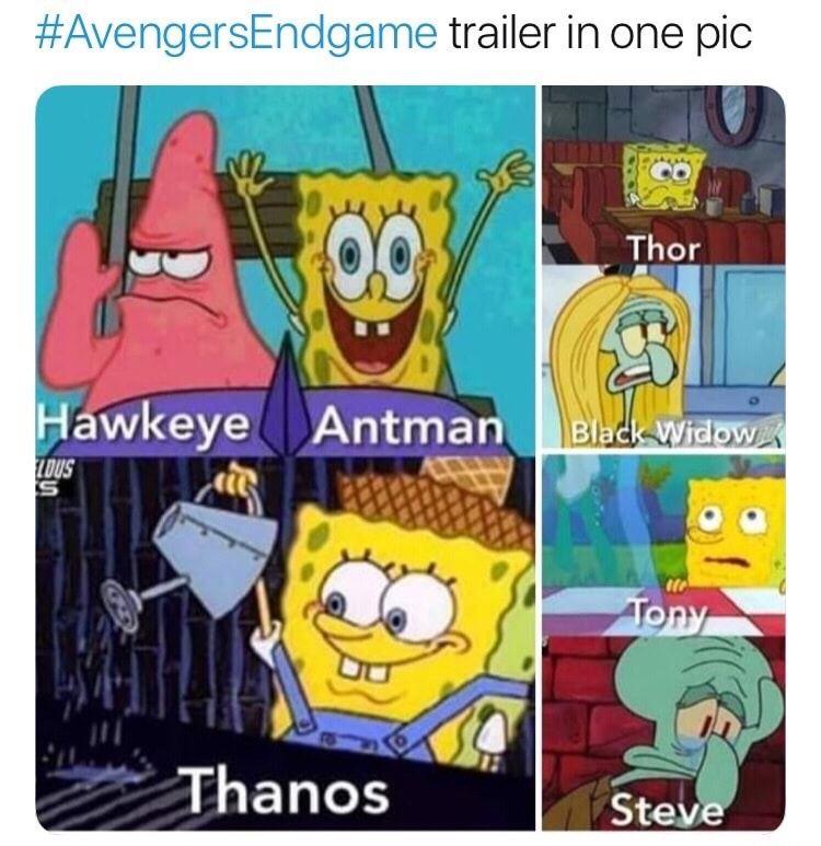 Avengers Endgame meme with Hawkeye, ant man, thanos as spongebob squarepants characters