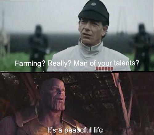 Endgame meme - Thanos as a farmer