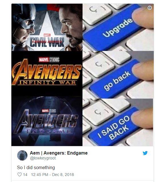 Marvel Avengers Endgame 2019 meme go back i said go back
