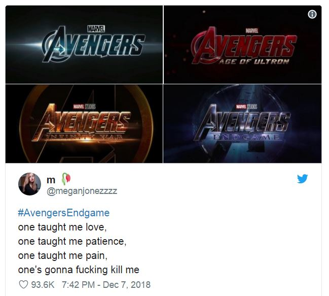 Avengers movies with descriptions of logos based on Ariana Grande song lyrics