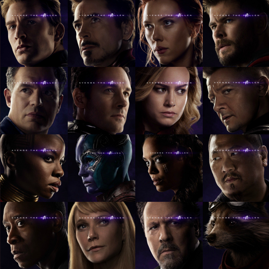 Marvel Avengers Endgame poster faces with the cool glowing movie logo