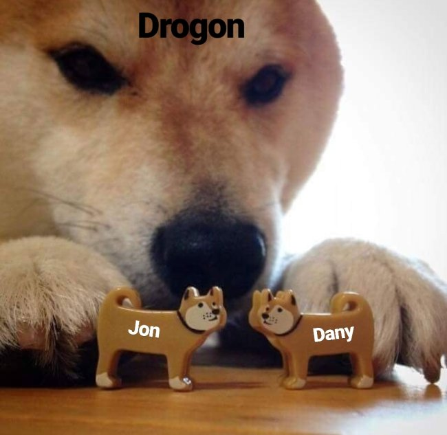 Drogon looking at Jon and Dany from Game of Thrones Season 8 episode 1