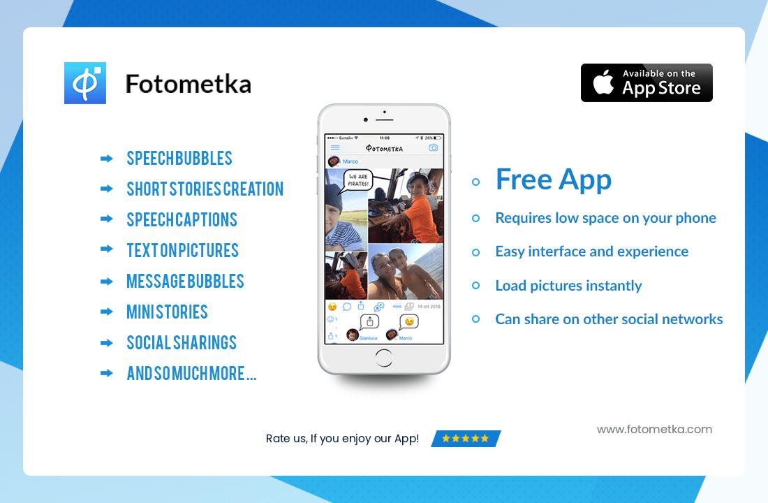 Fotometka Free Speech bubble on photo ios app - Picture