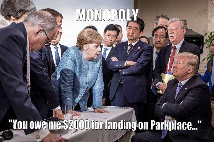 Trump owes Merkel $2000 for landing on Parkplace