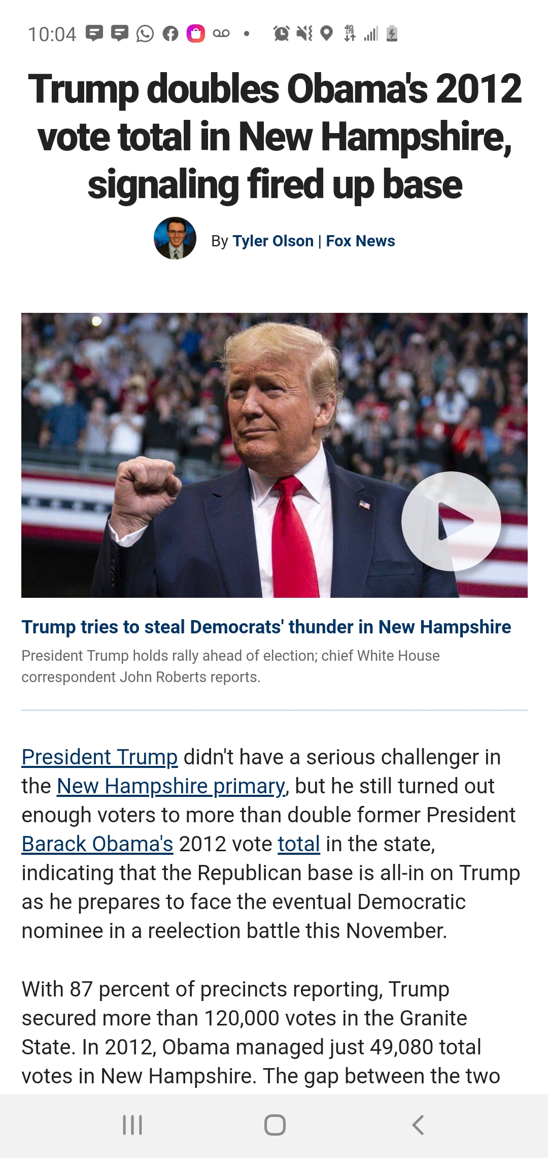 With 87 percent of precincts reporting, Trump secured more than 120,000 votes in the Granite State. In 2012, Obama managed just 49,080 total votes in New Hampshire. Thegap between the two presidentsis likely to increase as more precincts report their totals Wednesday.