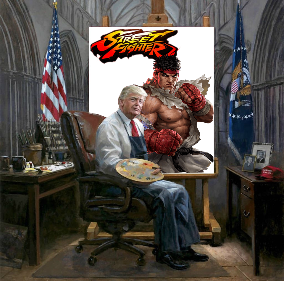 Painting A Painting Trump Style A Little Street Fighter For Fun