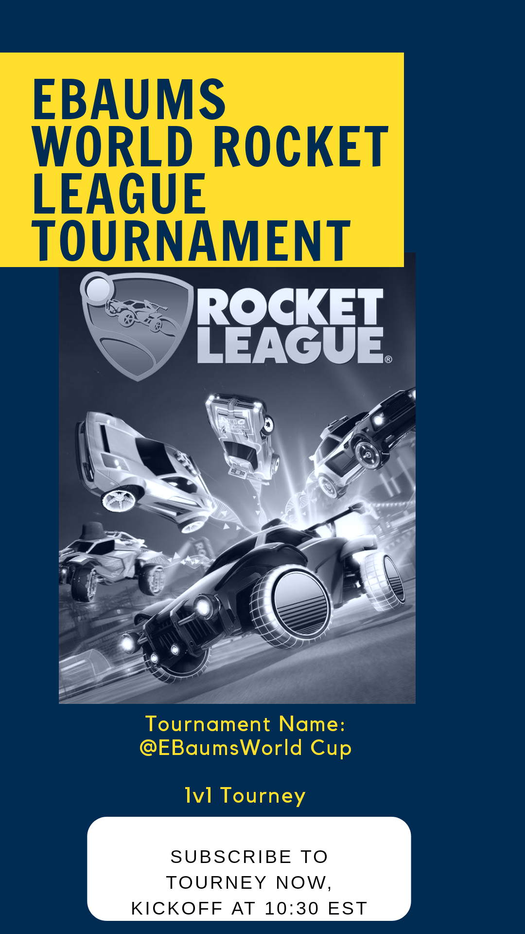 """At 10:30pm ET, we will have our first ever Rocket League tournament.   If you want to play we need some more people!   Details: 32 Players, 1v1, All Systems (PC, Xbox, Switch, PS4)  To join, around 10pm hop on Rocket League and go to Tournaments. Then, go to Find Tournament. Hit Show Filters and search """"@EbaumsWorld"""" and you should find it!"""