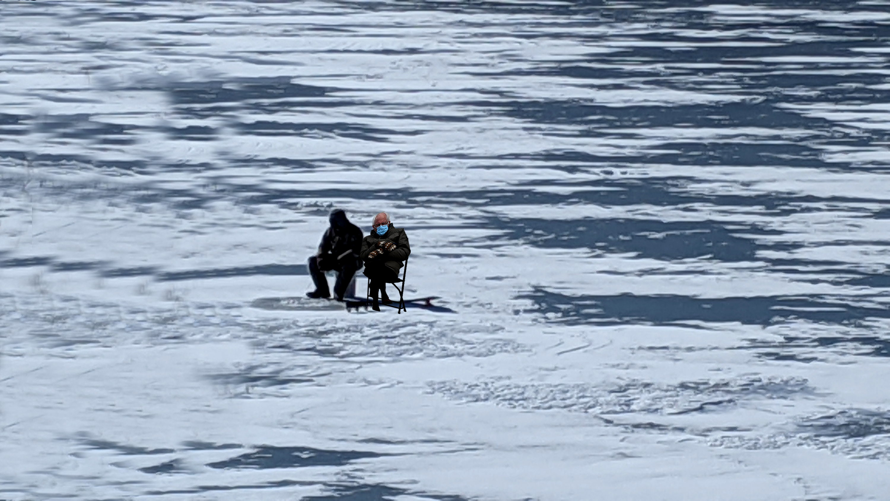 The famous photo pf Bernie Sanders. Here he is over the weekend found ice fishing with a friend.