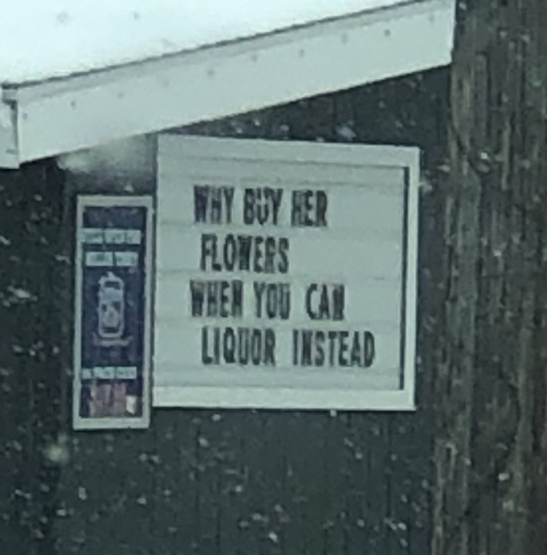 This was a sign on a convenience store near the campus of Western Michigan University in Kalamazoo Michigan