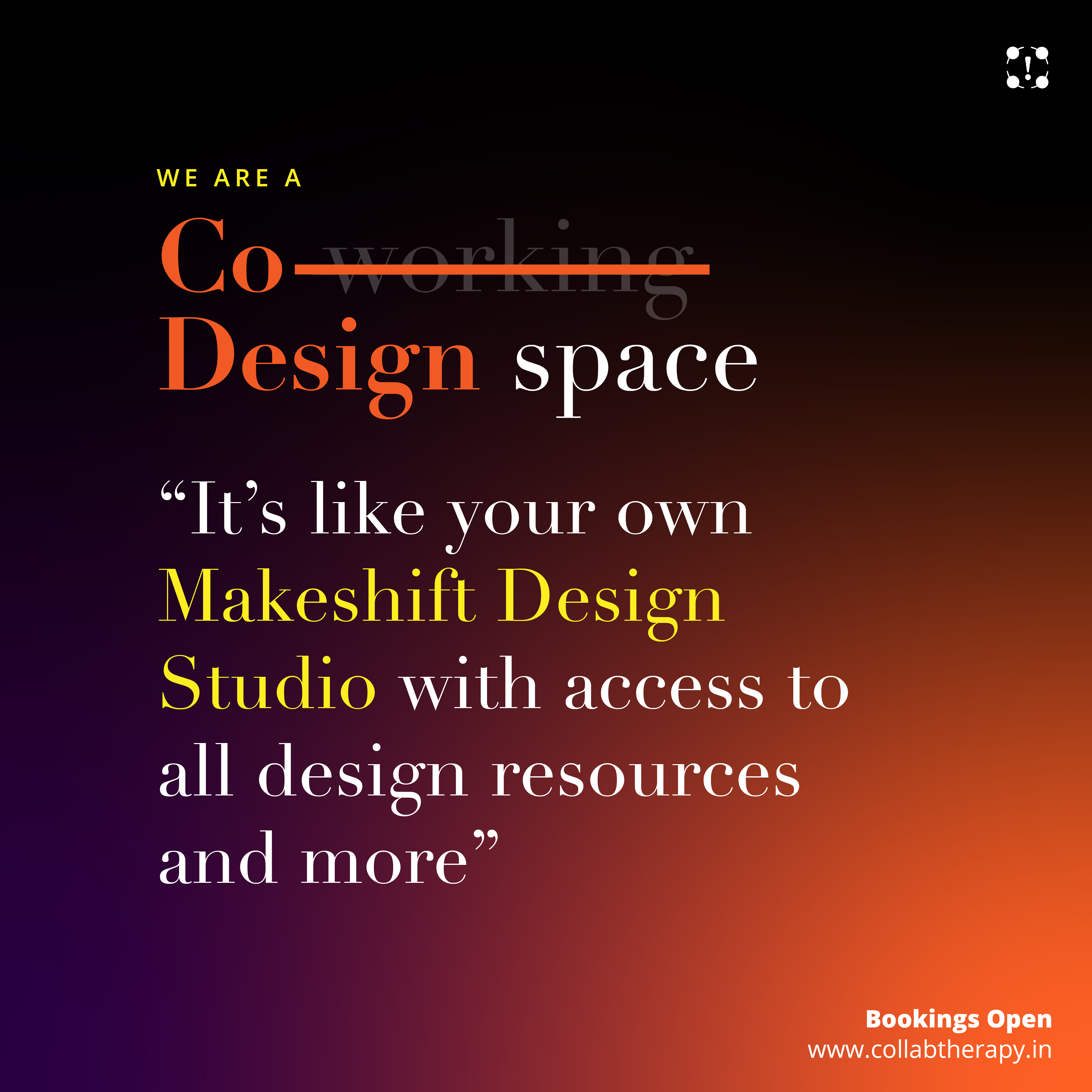 We are a Co-design Space. Its like your own Makeshift Design Studio with access to all design resources and more. A One stop idea-to-execution ecosystem; Collab Therapy brings you all resources at a single point access - to Design, Develop,Prototype, Test, Fabricate and Seed your ideas!  Call now :- +911142828156