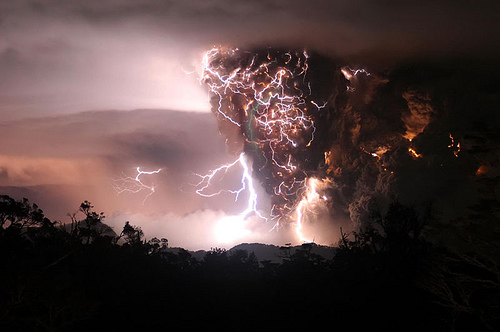 Lightning brought on by volcanic eruption.