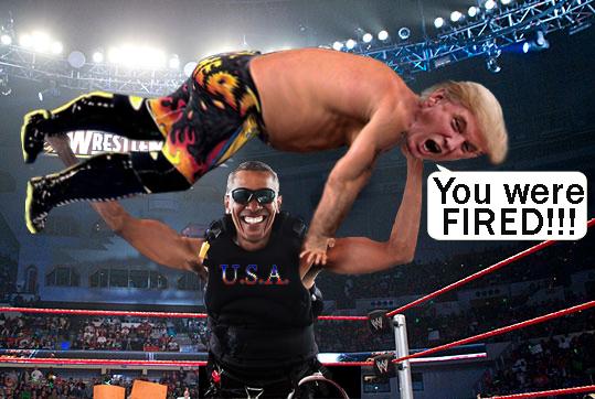 Obama body slamming Trump!!!