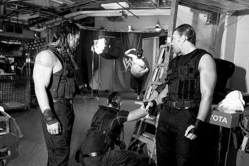 During a backstage moment caught on hidden camera, The Shield saw who their next victim would be, a wanna-be Vader look-a-like.