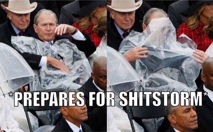 bush prepares for shitstorm