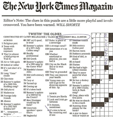 Imagenes De New York Times Sunday Crossword Puzzle Printable