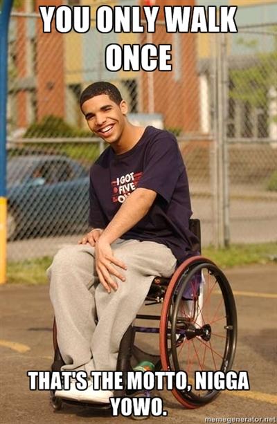 Drake's not too good at walking.