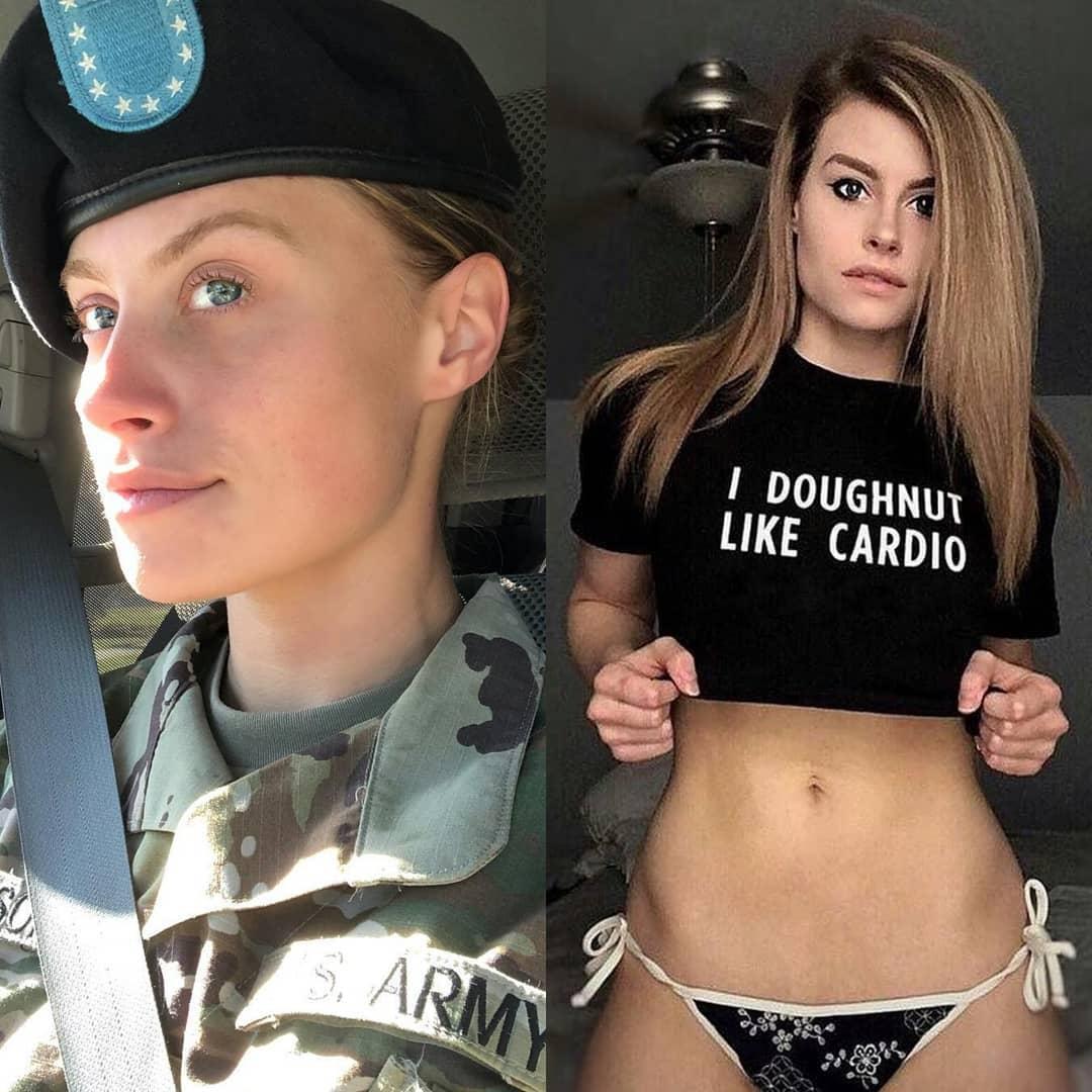 Pornstars in uniform have faced