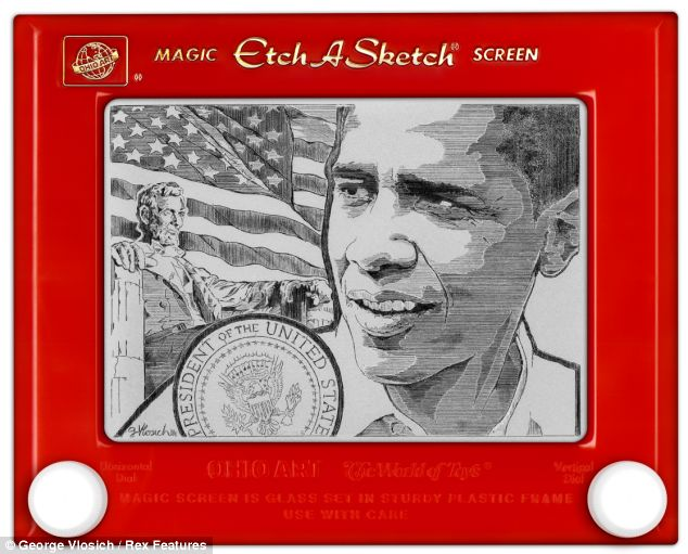 Artistic Etch-a-Sketch of our new President.