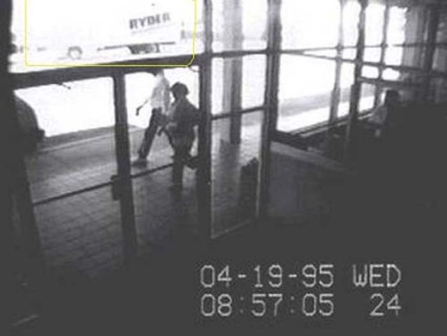Surveillance footage of American terrorist Timothy McVeigh stopping in his rental truck to light the fuse. Minutes later, the truck exploded in front of the Oklahoma federal building. The attack killed 168 people.