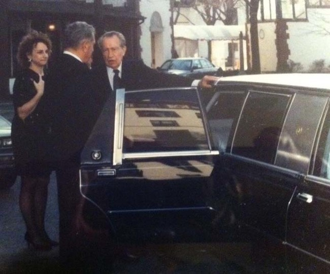 Former president Richard Nixon attending a wedding shortly before his death.