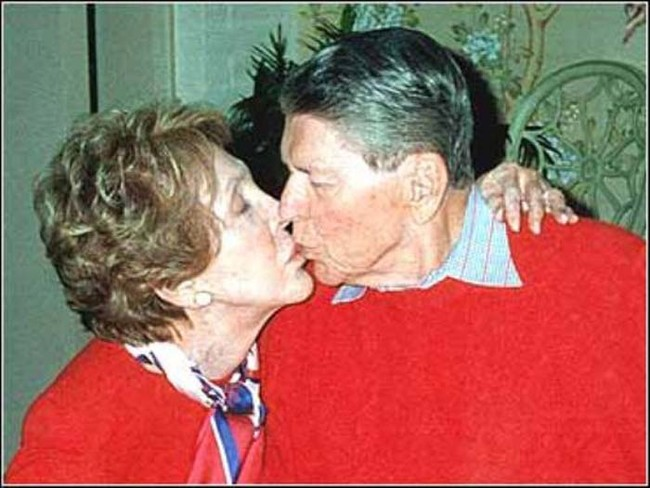 Former president Ronald Reagan on his 89th birthday. This is the last known photo of him before his death.