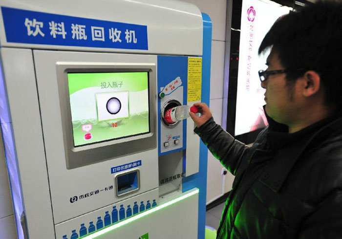 In Beijing, Subway riders are allowed to pay by recycling plastic bottles.