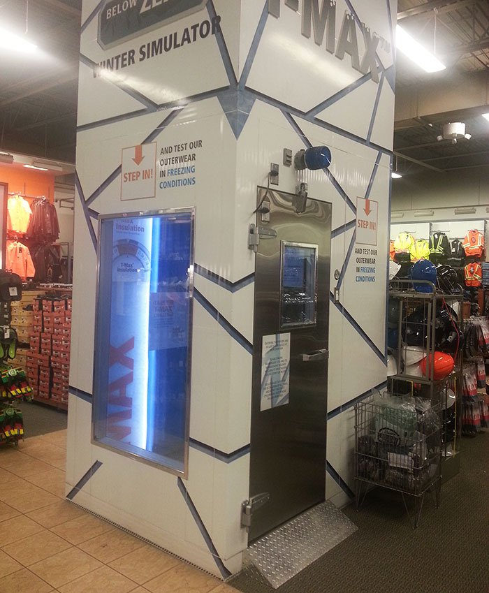 This athletic apparel store has a Winter simulator to test winter jackets.