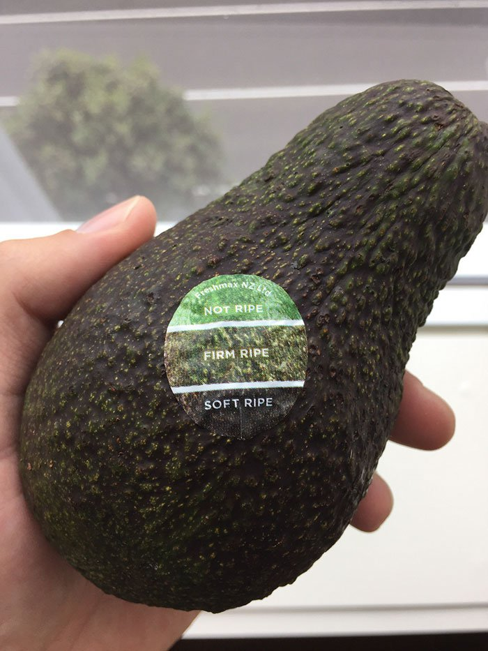 Avocado has ca color chart sticker notifying you when it's ripe.