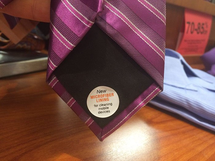 A tie that has a microfiber lining to clean your handheld electronics.