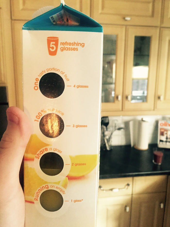 This carton of OJ lets you see how many glasses are left inside.
