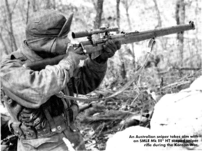 australian sniper korean war - An Australian sniper takes aim with an Smle Mk Iii Ht scaped sniper rifle during the Korean War.