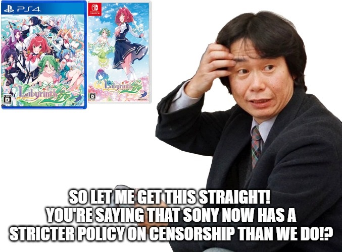 Miyamoto wonders how Nintendo is now more lenient on sexual content than Sony.