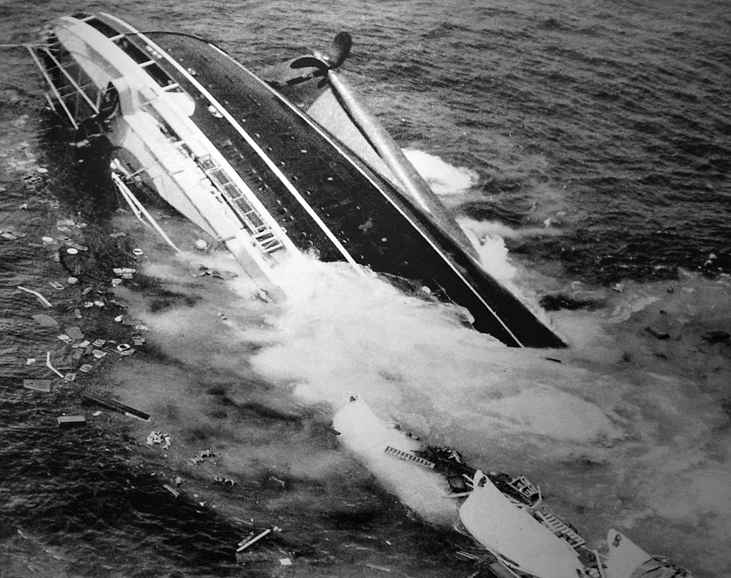 1f541bea17da Its passengers are enjoying their last night at sea - dining, dancing,  playing cards - as the luxury liner Andrea Doria ...