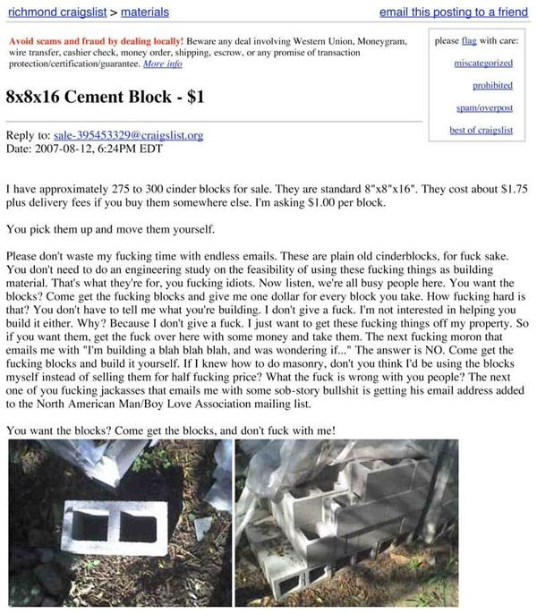 Cement Blocks On CraigsList - Picture | eBaum's World