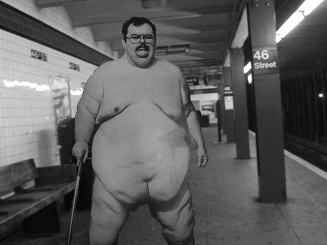 picture of a really fat naked guy standing subway by hugoballz