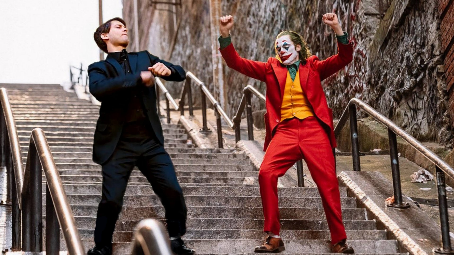 The template for the new trending meme that puts Tobey Maguire's Peter Parker with Joaquin Pheonix's Joker.