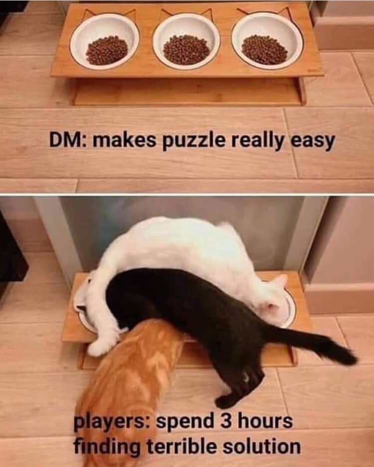 dungeons and dragons - intuitive interface kitten - Dm makes puzzle really easy players spend 3 hours finding terrible solution