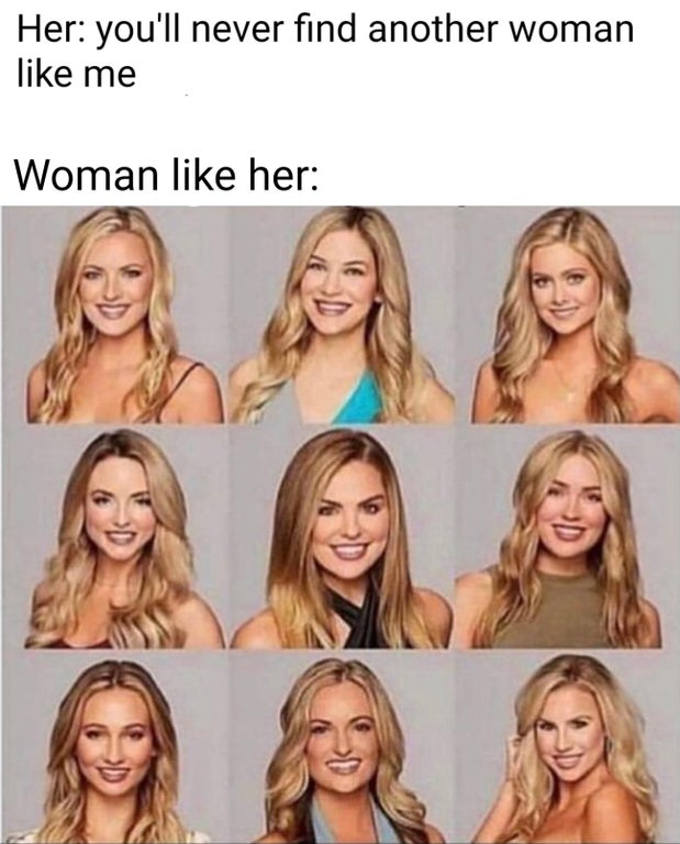 laugh emoji meme - Her you'll never find another woman me Woman her