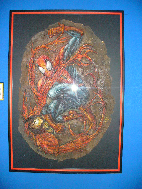 Another fascinating thing you can find at the Gatlinberg, Tennessee Ripleys Believe it or Not Museum. This was a pretty cool concept. Spiderman painted on actual spiderweb. You can find anything here.