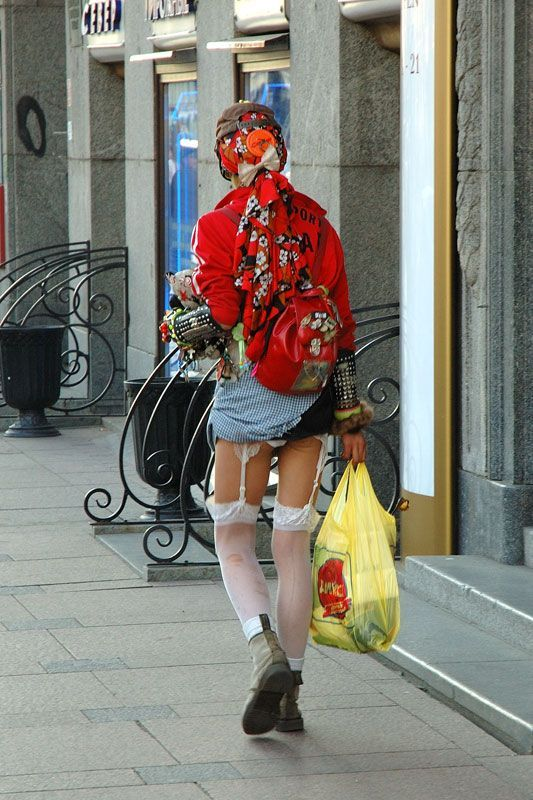 Haha. I was at a loss for words. Did he lose a bet? or does he dress like this daily? At least I think its a guy...