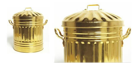 Gold Plated Trash Can