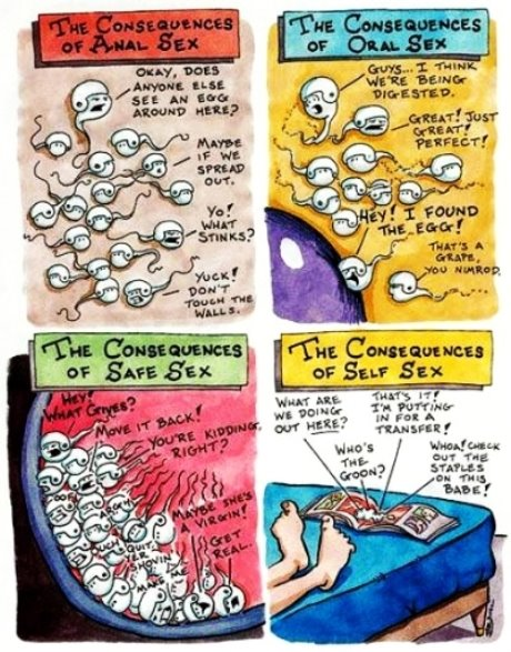 Funny comic strip about sperm.