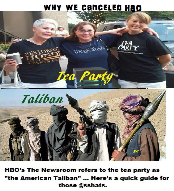 HBO's THE NEWSROOM refers to the tea party as the American Taliban , Here is a quick guide for those @sshats .
