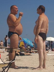 fat man wearing speedo