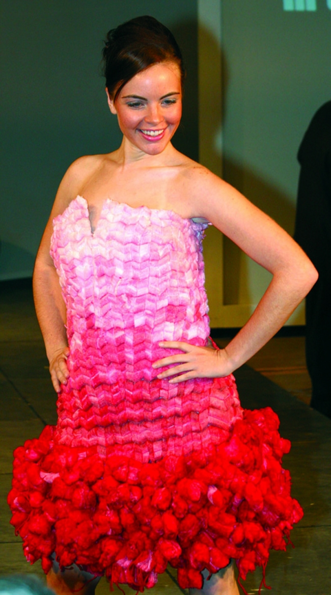 Cool but strange dress made out of tampons.