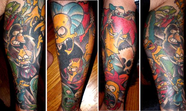 Simpsons Treehouse of Horror legsleeve tattoo by Dave (DUP) at Liquid Courage (www.myspace.com