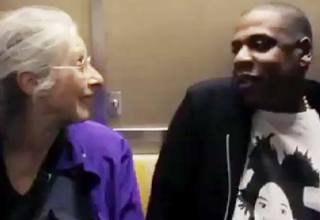 Jay-Z explains who he is to an adorable old lady on the subway.